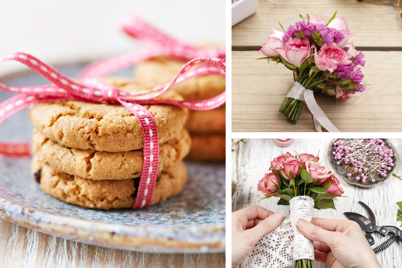 Picture of DIY Homemade cookies and flowers